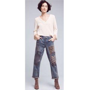 Anthro Hyphen Mid-Rise Patchwork Boyfriend Jeans